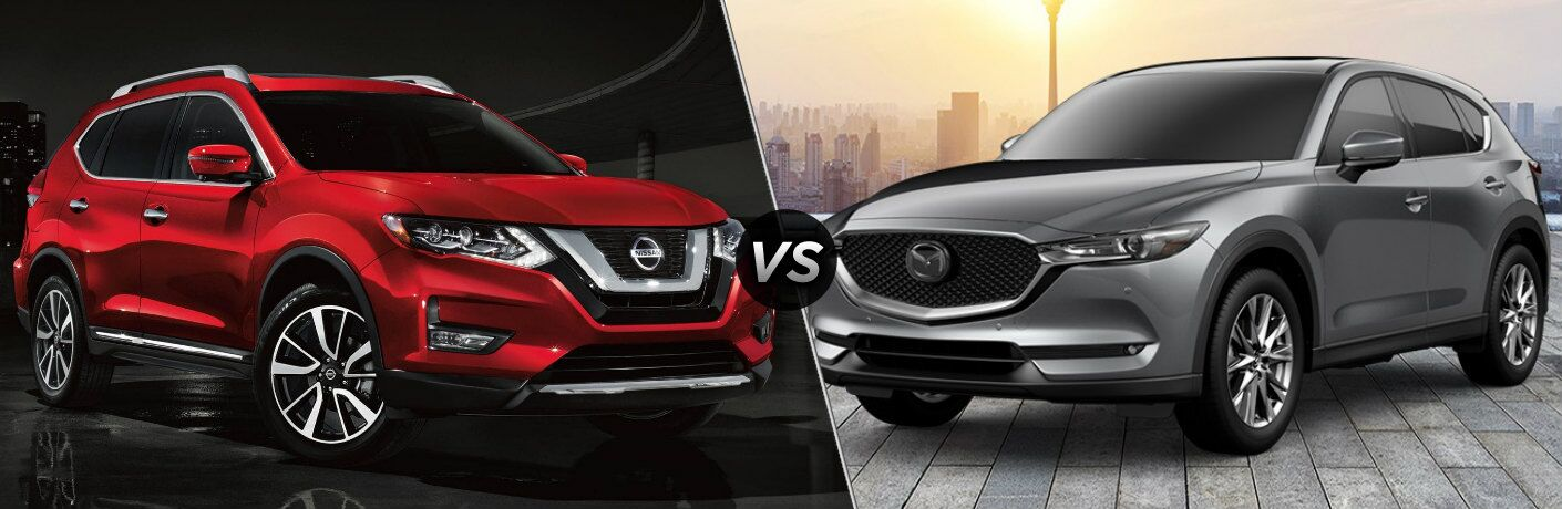 Red 2019 Nissan Rogue and silver 2019 Mazda CX-5 side by side