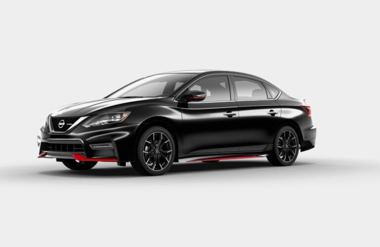 Left side view of a black 2019 Nissan Sentra NISMO
