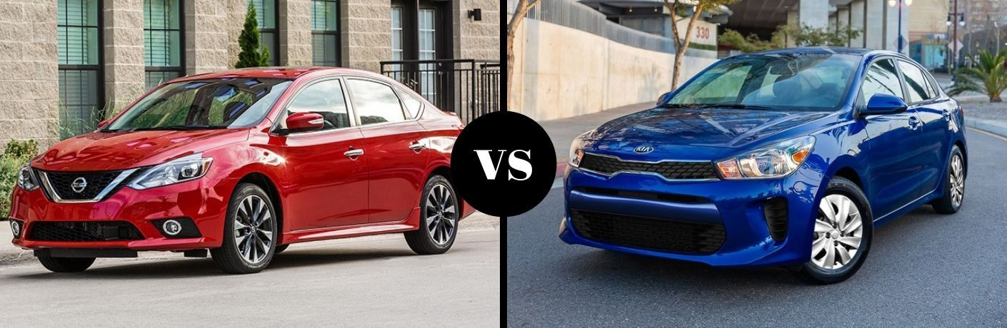 Red 2019 Nissan Sentra and blue 2019 Kia Rio side by side