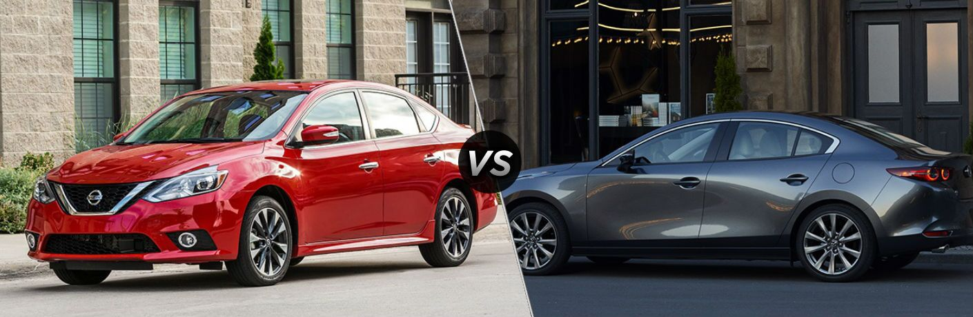 Red 2019 Nissan Sentra and gray 2019 Mazda3 side by side