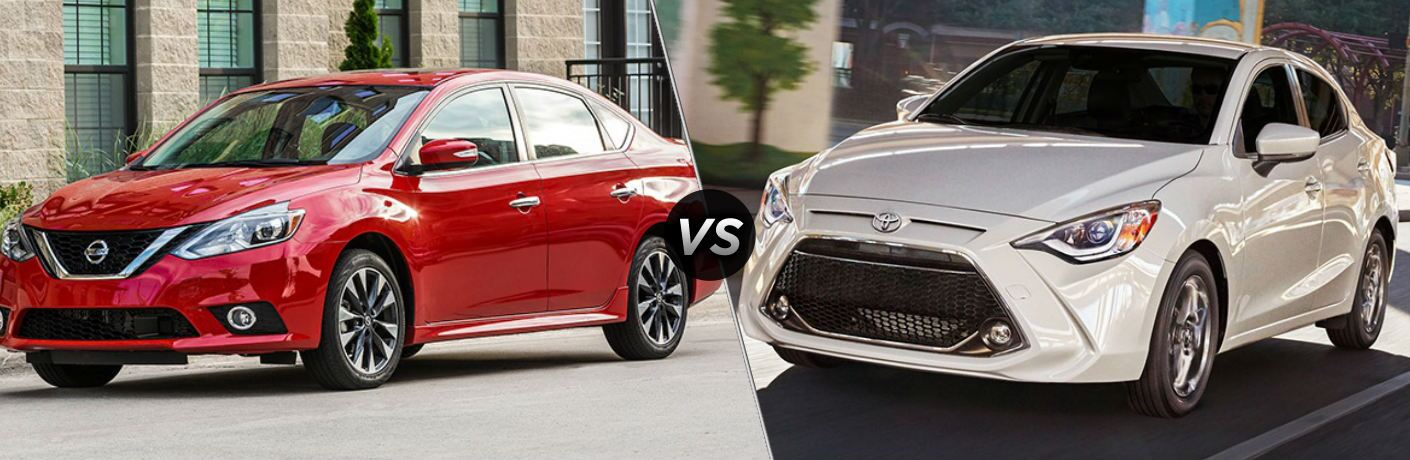 Red 2019 Nissan Sentra and white 2019 Toyota Yaris side by side