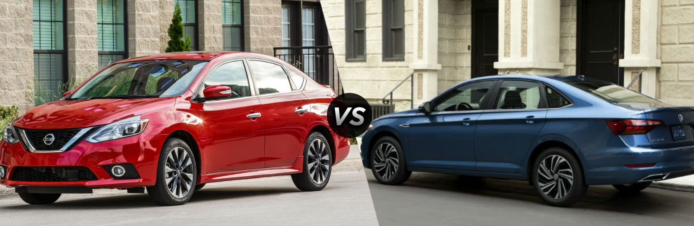 Red 2019 Nissan Sentra and blue 2019 Volkswagen Jetta side by side