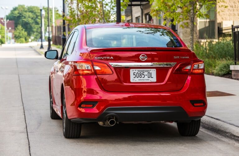 Rear view of a red 2019 Nissan Sentra