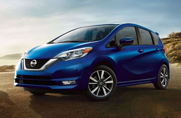 Side view of a blue 2019 Nissan Versa Note