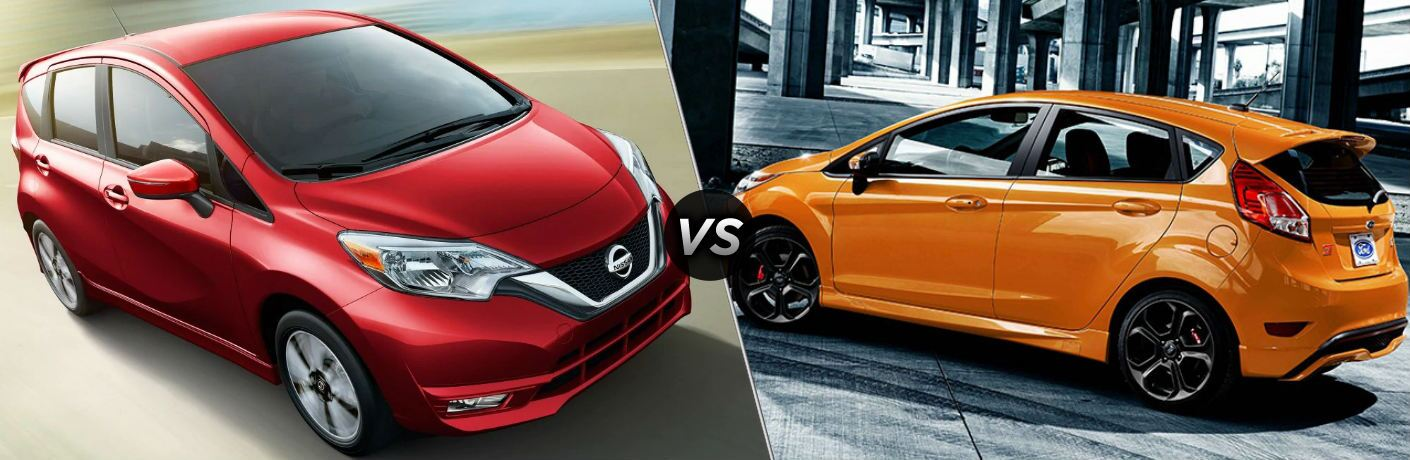 Red 2019 Nissan Versa Note and orange 2019 Ford Fiesta Hatchback side by side