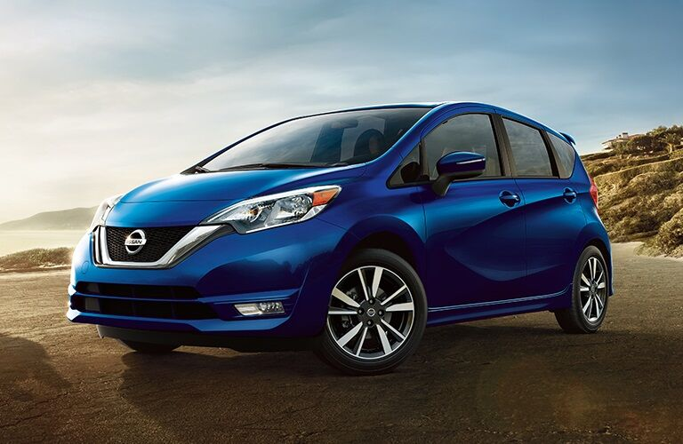 Front side view of a blue 2019 Nissan Versa Note