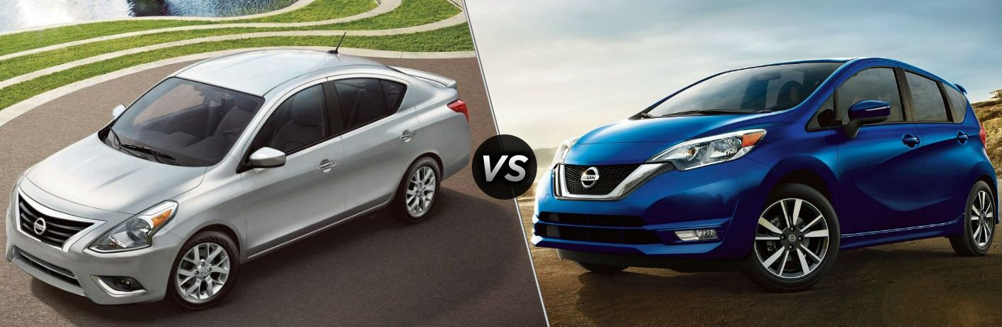 Silver 2019 Nissan Versa and blue 2019 Nissan Versa Note side by side
