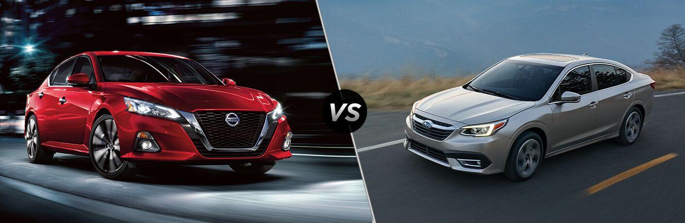 2020 Nissan Altima and Subaru Legacy models in comparison image