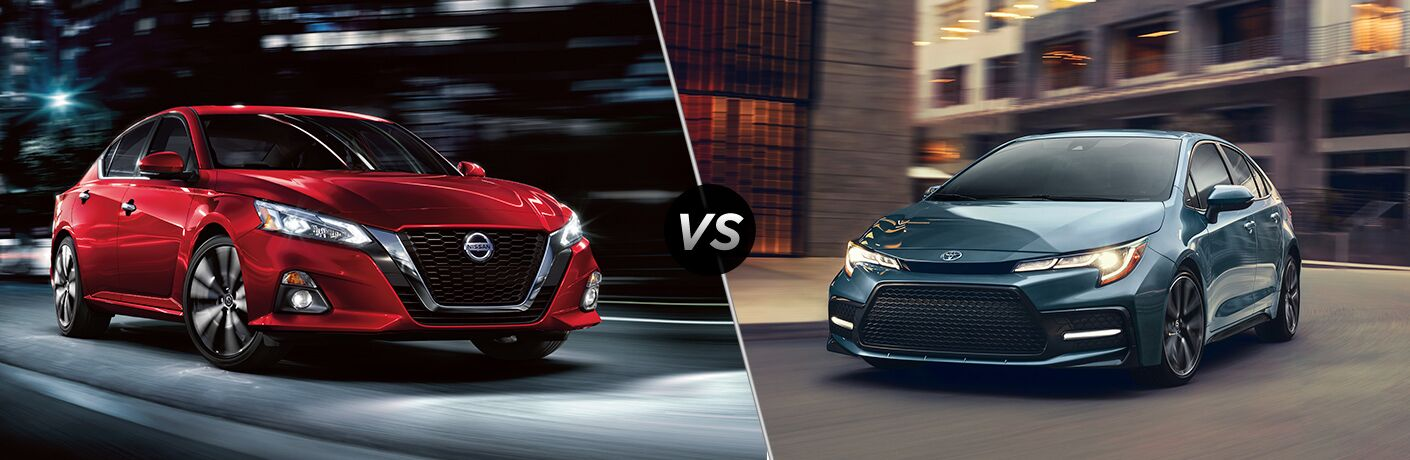 Front passenger angle of a red 2020 Nissan Altima on left vs front driver angle of a blue 2020 Toyota Corolla on right