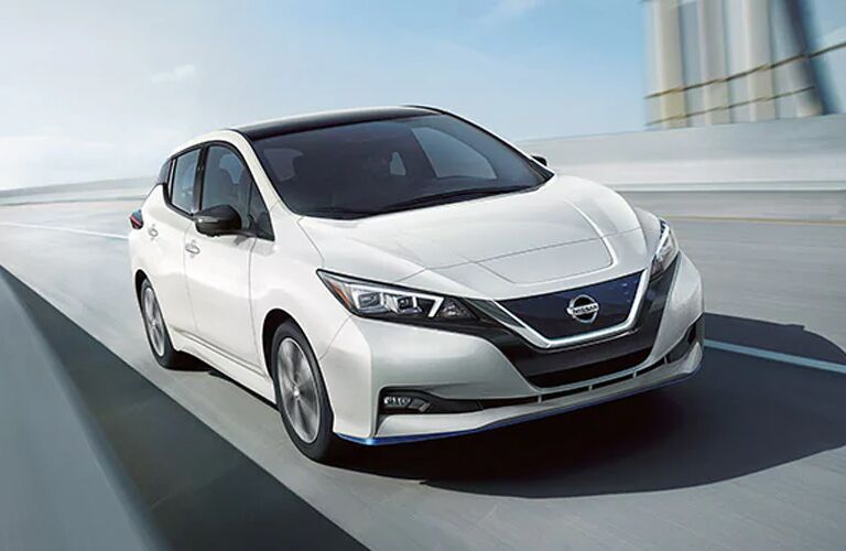 front view a white 2020 Nissan Leaf