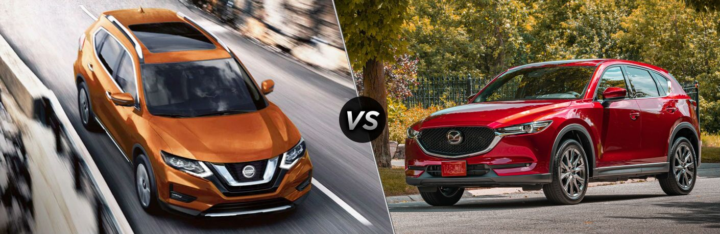 Orange 2020 Nissan Rogue and red 2020 Mazda CX-5