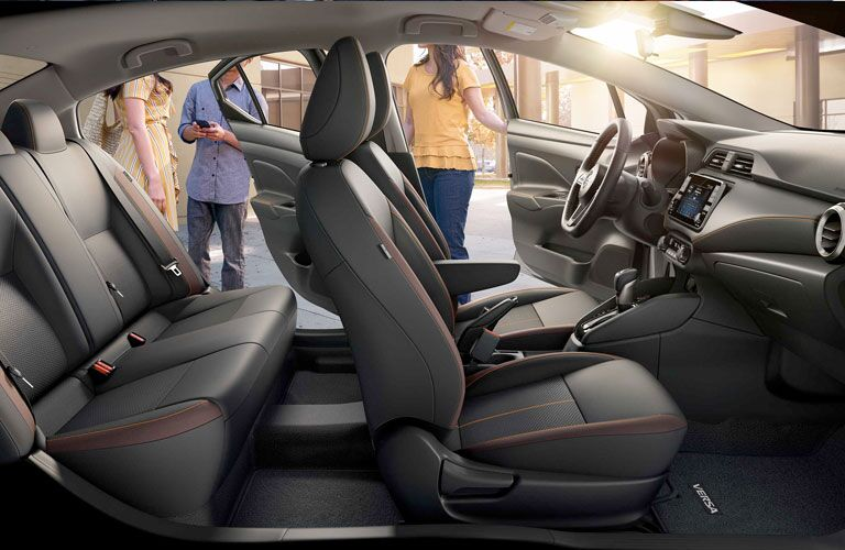 Dark gray and maroon seats in 2020 Nissan Versa