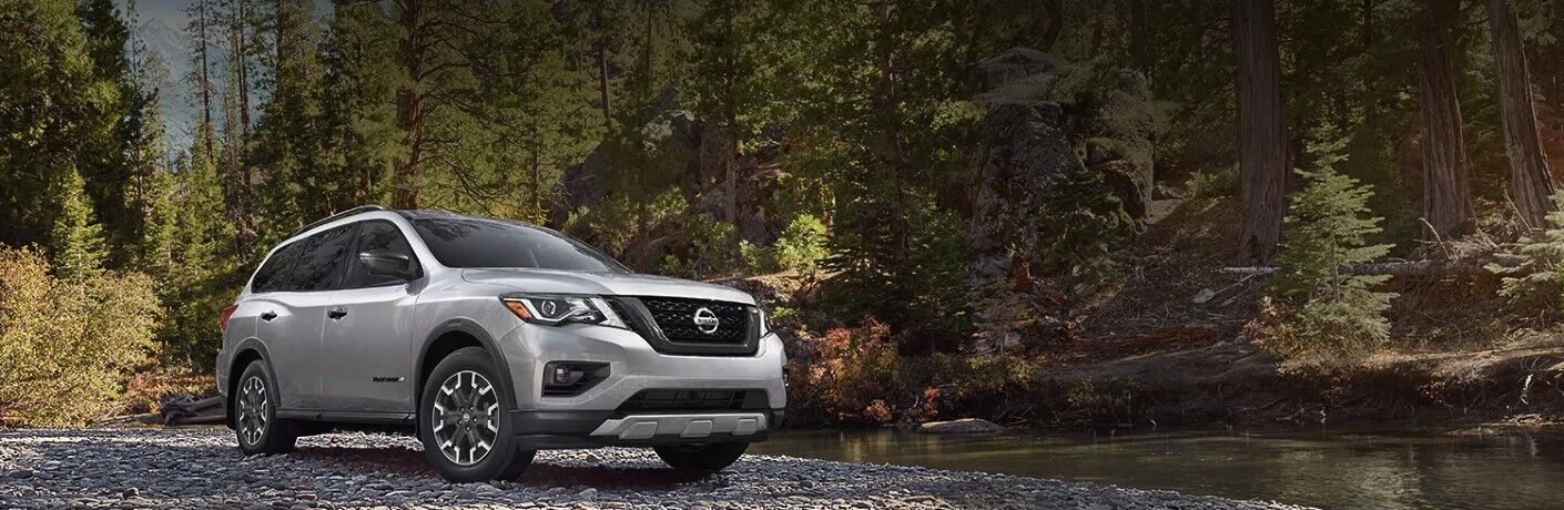 2020 Nissan Pathfinder parked by river