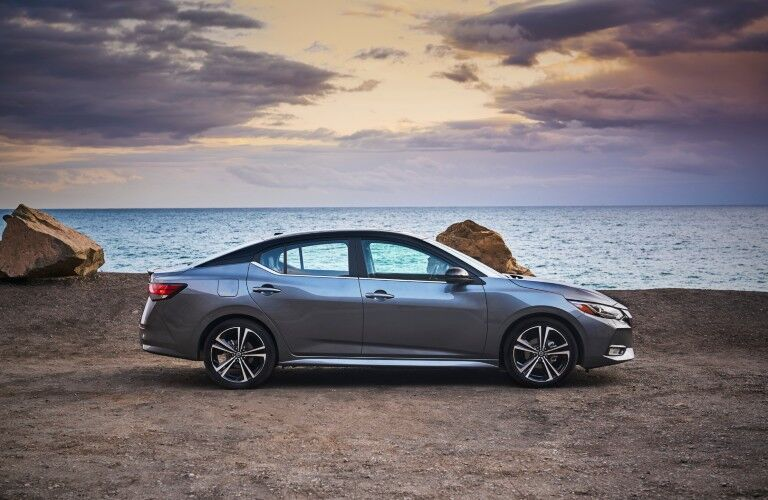 side view of blue 2020 Nissan Sentra