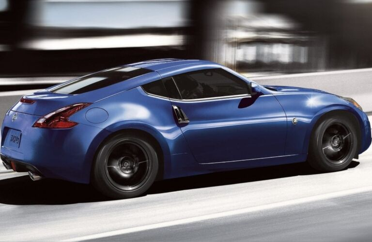 Side view of a blue 2020 Nissan 370Z Coupe