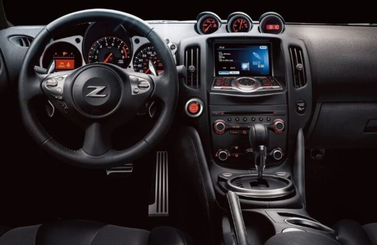 Steering wheel and infotainment system in the 2020 Nissan 370Z Coupe