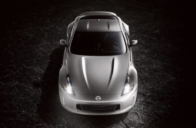 Front overhead view of a silver 2020 Nissan 370Z Coupe