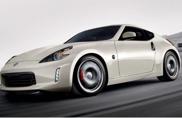Side view of a white 2020 Nissan 370Z