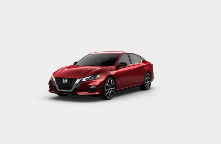 Red 2020 Nissan Altima SR on a gray background