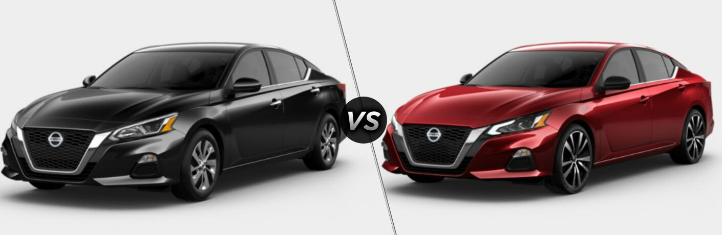 Black 2020 Nissan Altima S and red 2020 Nissan Altima SR side by side