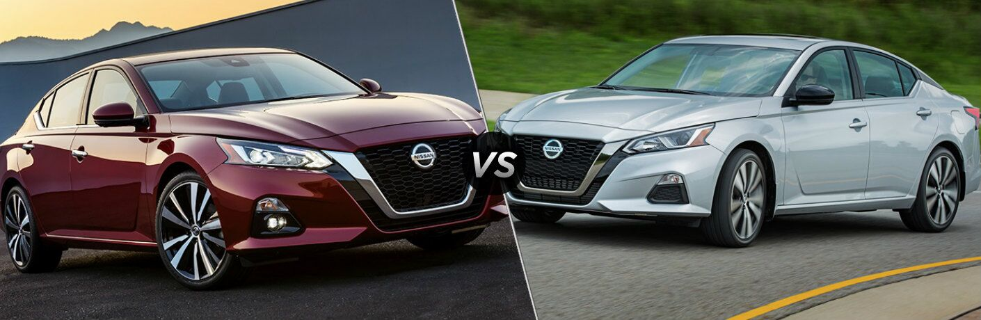 Maroon 2019 Nissan Altima and silver 2019 Nissan Altima side by side