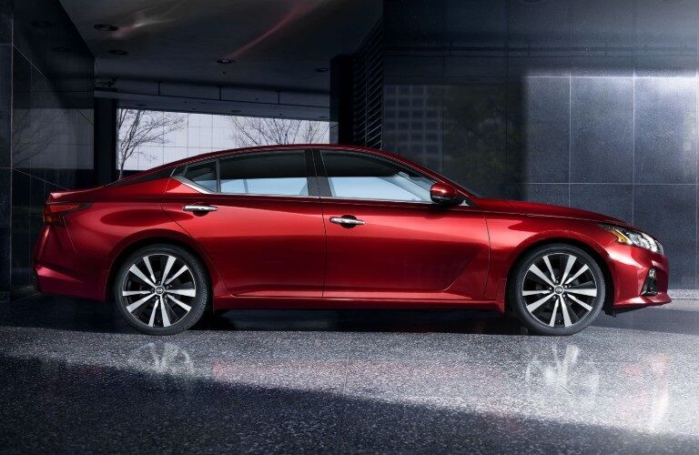 Side view of a red 2020 Nissan Altima