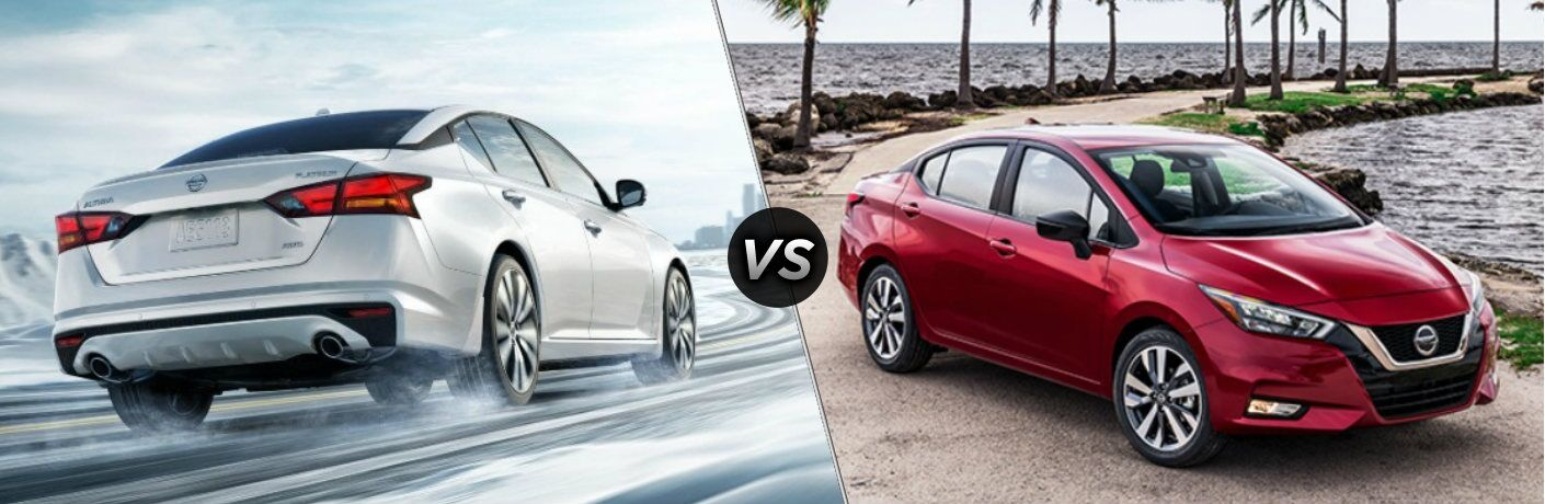 White 2020 Nissan Altima and red 2020 Nissan Versa side by side