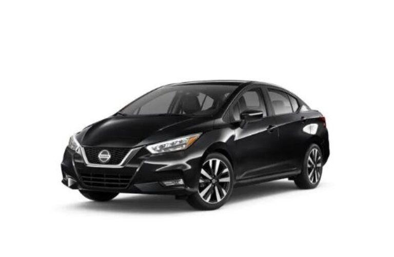 Black 2020 Nissan Versa on a white background