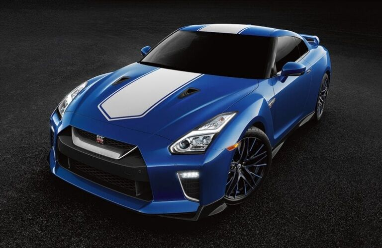 Front view of a blue and white 2020 Nissan GT-R