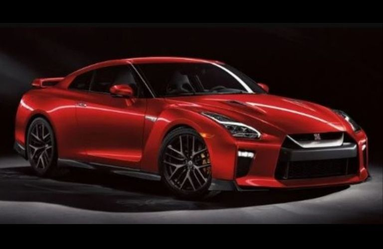 Side view of a red 2020 Nissan GT-R