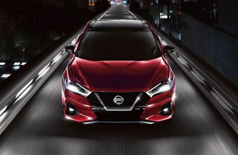 Front view of a red 2020 Nissan Maxima