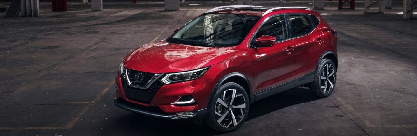 Front overhead view of a red 2020 Nissan Rogue Sport