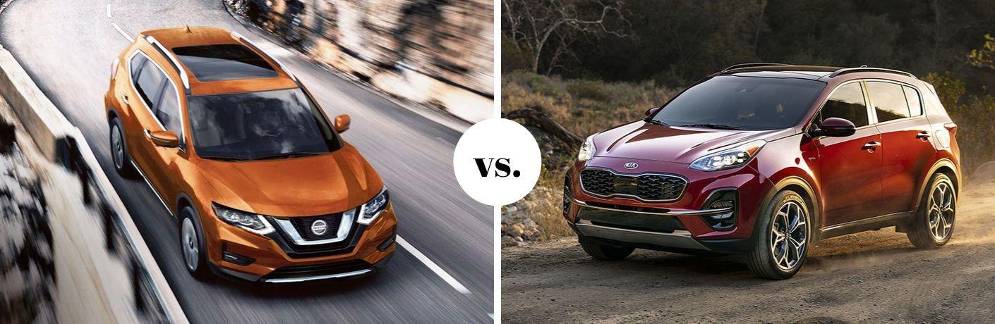 Orange Nissan Rogue and red Kia Sportage in comparison photo