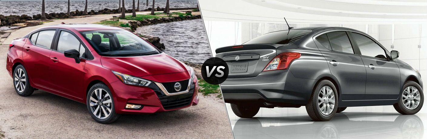 Red 2020 Nissan Versa and silver 2019 Nissan Versa side by side