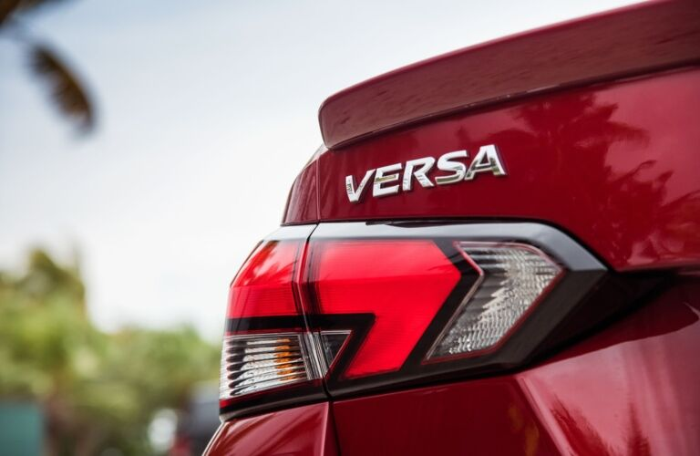 rear badge of the 2020 Nissan Versa