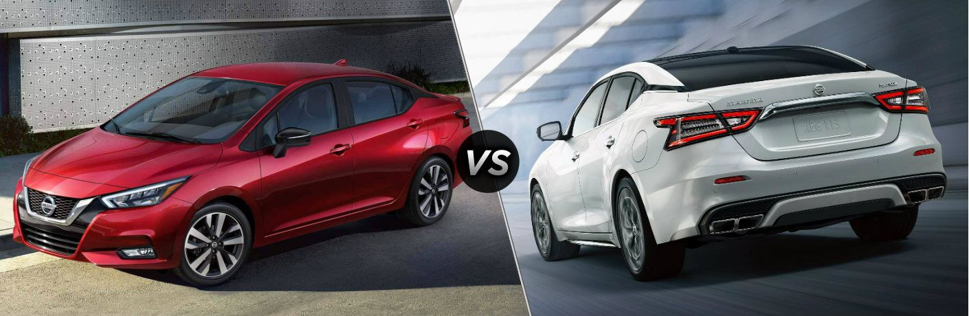 Red 2020 Nissan Versa and white 2020 Nissan Maxima side by side