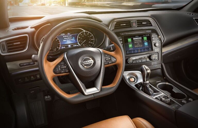 Steering wheel and infotainment system in the 2020 Nissan Maxima