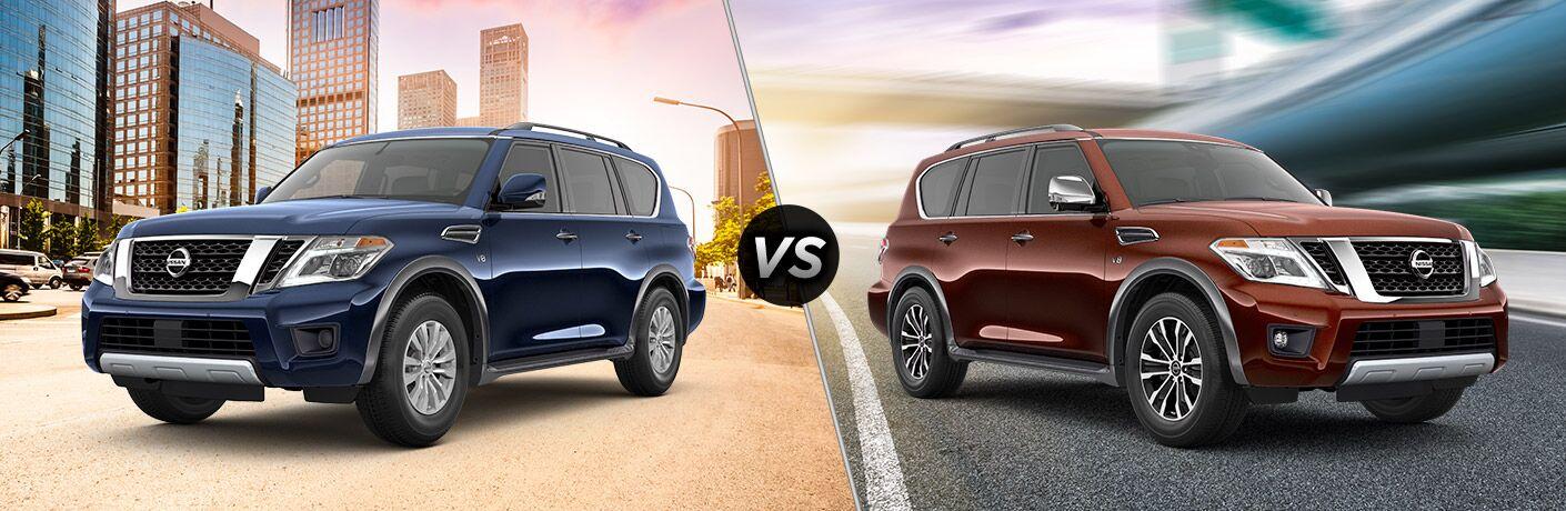 A side-by-side comparison of the 2020 Nissan Armada SV vs. 2020 Nissan Armada SL.