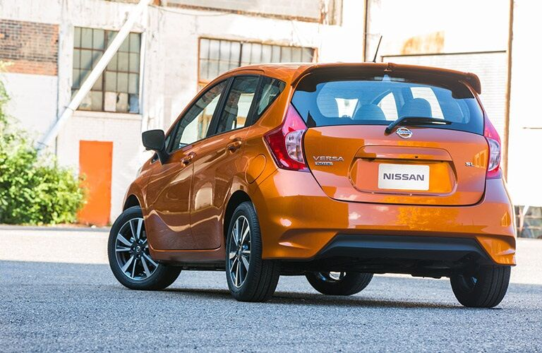 Rear view of an orange 2018 Nissan Versa Note