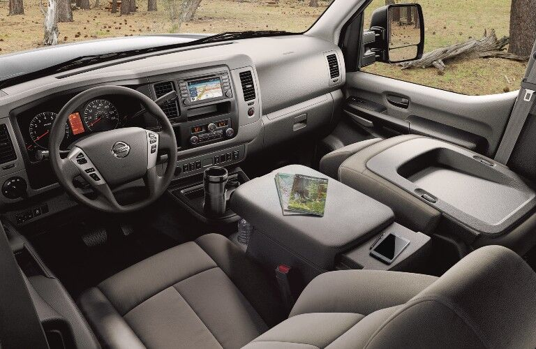front interior view of the 2021 Nissan NV