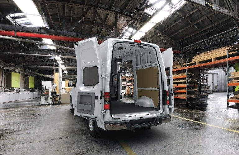 rear doors opened on the 2021 Nissan NV