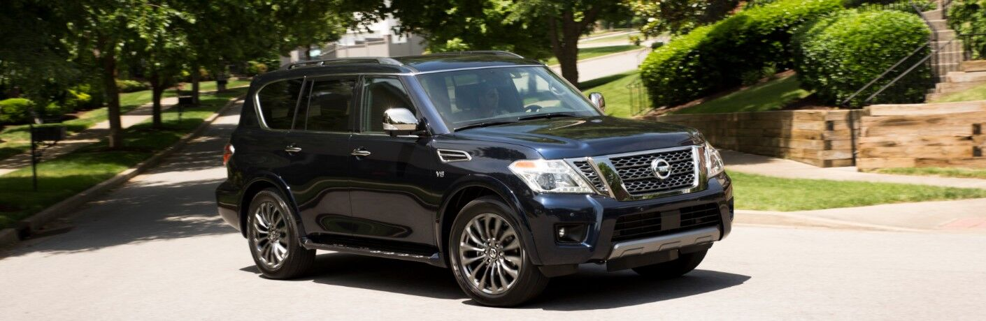 2020 Nissan Armada driving through neighborhood