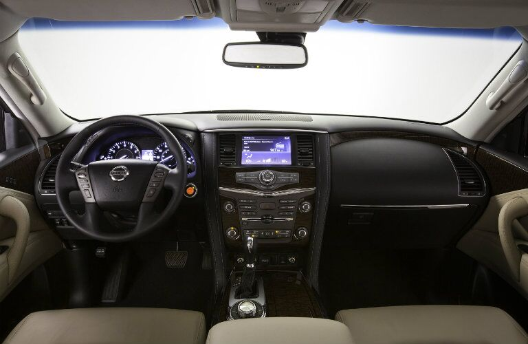 interior design and 8-inch screen of nissan armada