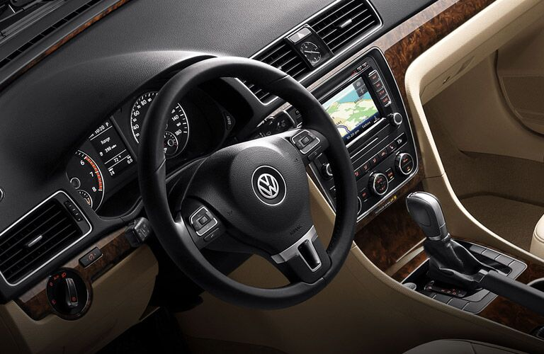 Interior of the 2015 VW Passat Green Bay, including touchscreen