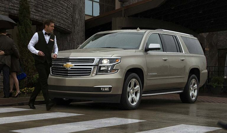 Chevy Suburban large SUV at valet parking
