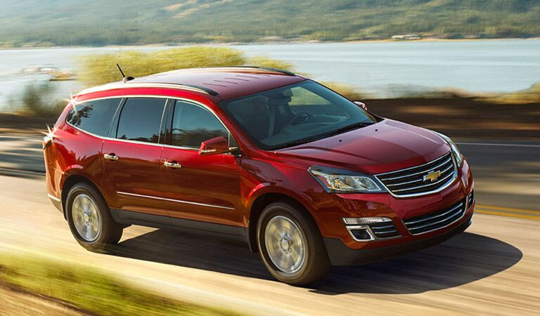 Large red Chevy Traverse crossover SUV