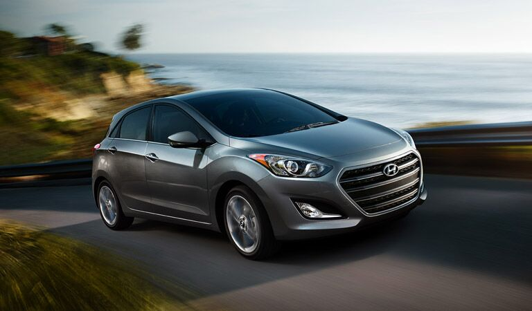 2016 Hyundai Elantra GT hatchback driving by water