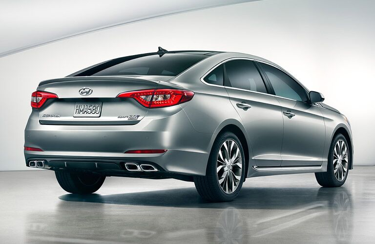 2016 Hyundai Sonata from the rear in silver