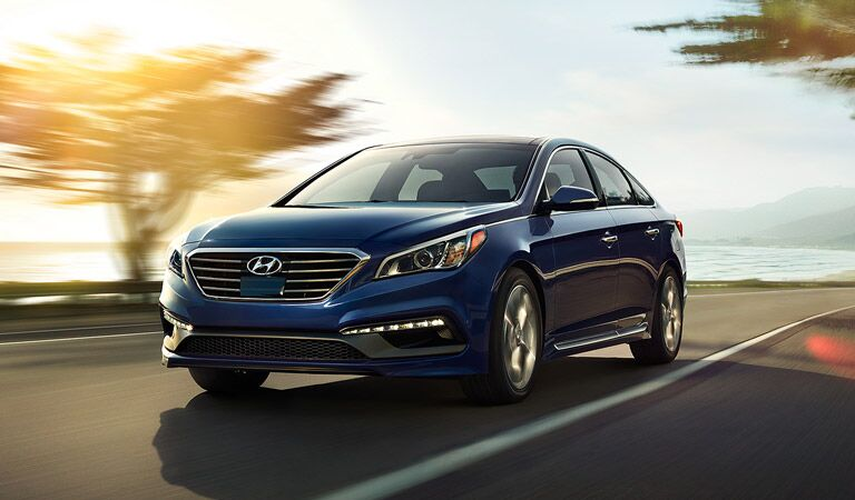 2016 Hyundai Sonata on the road highlighted by the sun