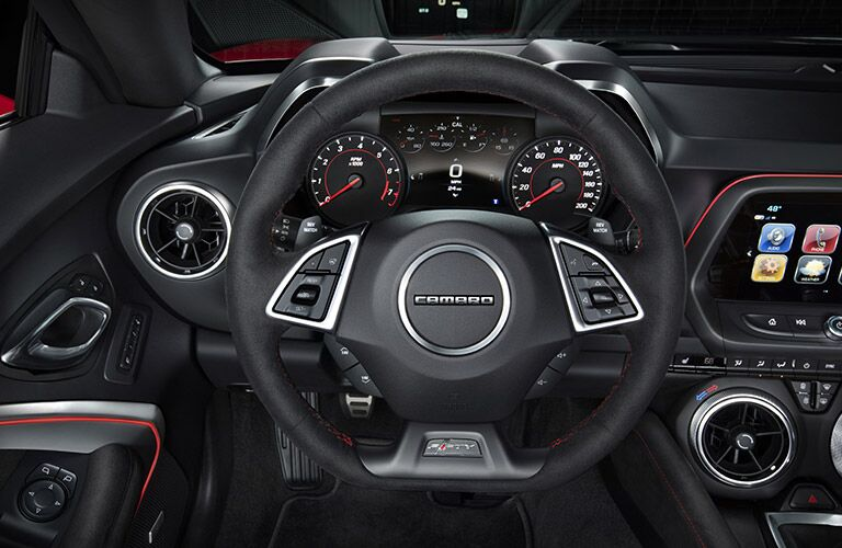 steering wheel of the 2017 Chevy Camaro